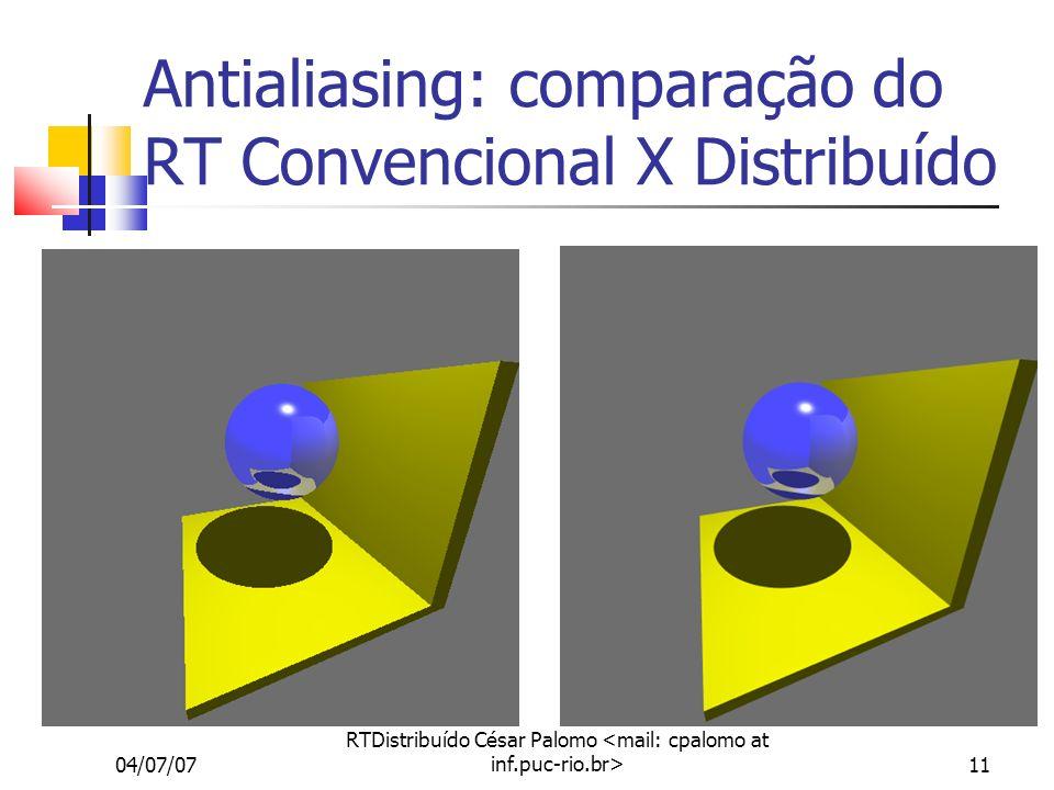04/07/07 RTDistribuído César Palomo 11 Antialiasing: comparação do RT Convencional X Distribuído