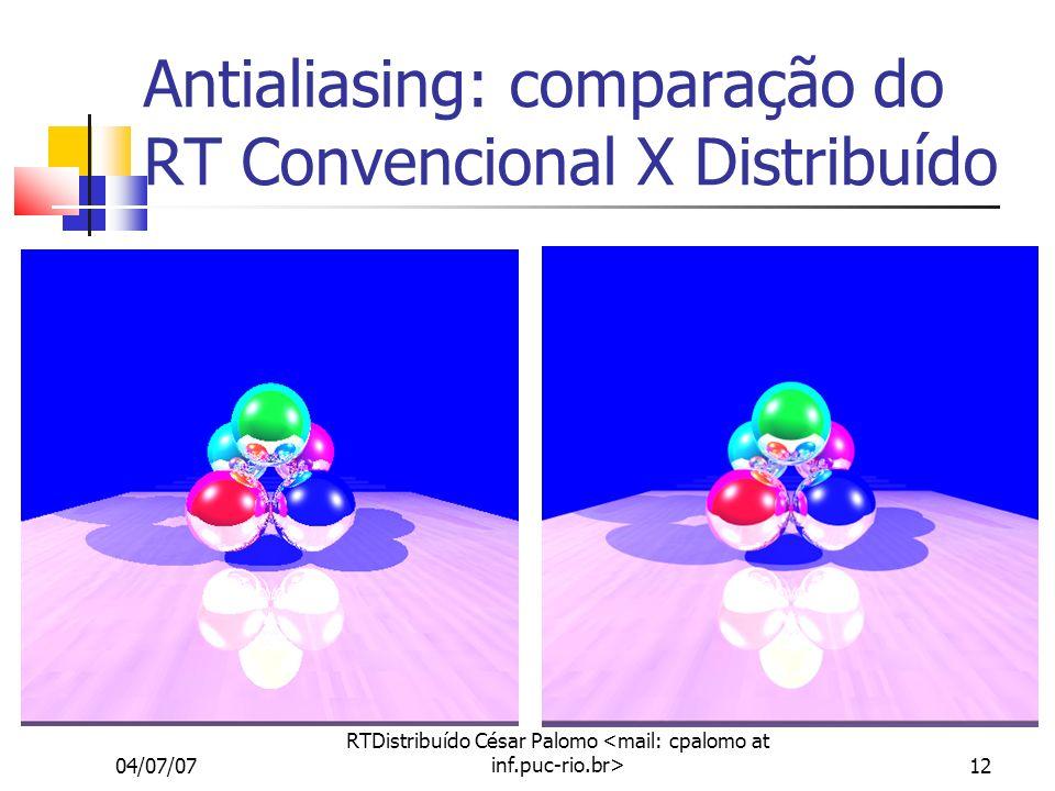04/07/07 RTDistribuído César Palomo 12 Antialiasing: comparação do RT Convencional X Distribuído