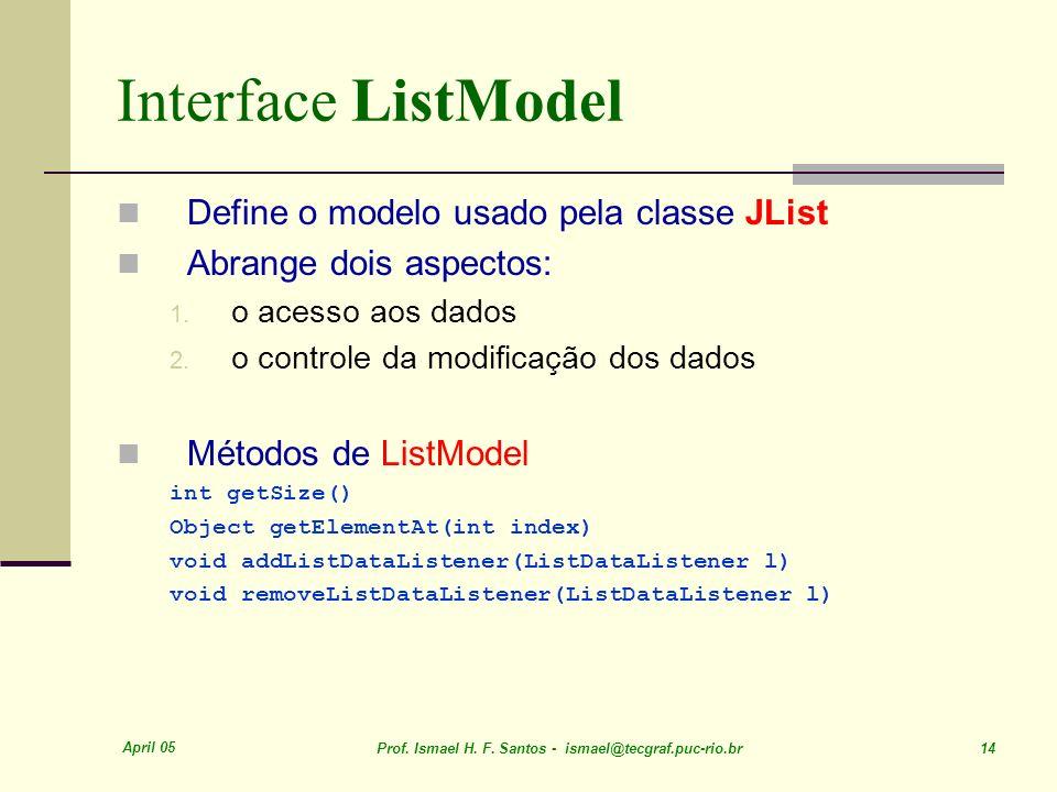 April 05 Prof. Ismael H. F. Santos - ismael@tecgraf.puc-rio.br 14 Interface ListModel Define o modelo usado pela classe JList Abrange dois aspectos: 1