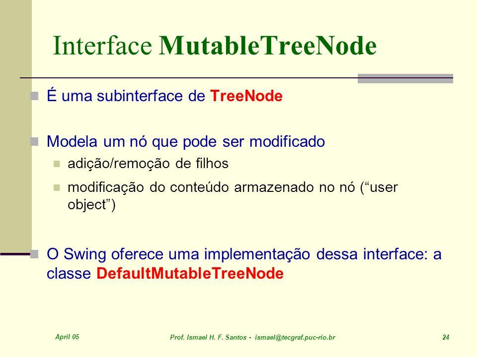 April 05 Prof. Ismael H. F. Santos - ismael@tecgraf.puc-rio.br 24 Interface MutableTreeNode É uma subinterface de TreeNode Modela um nó que pode ser m