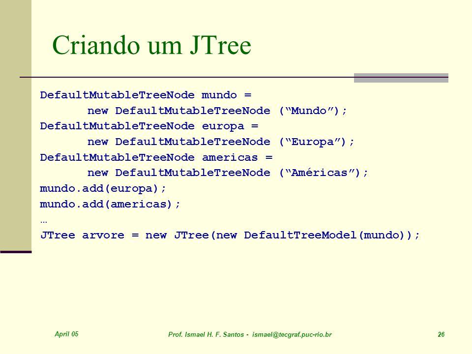 April 05 Prof. Ismael H. F. Santos - ismael@tecgraf.puc-rio.br 26 Criando um JTree DefaultMutableTreeNode mundo = new DefaultMutableTreeNode (Mundo);