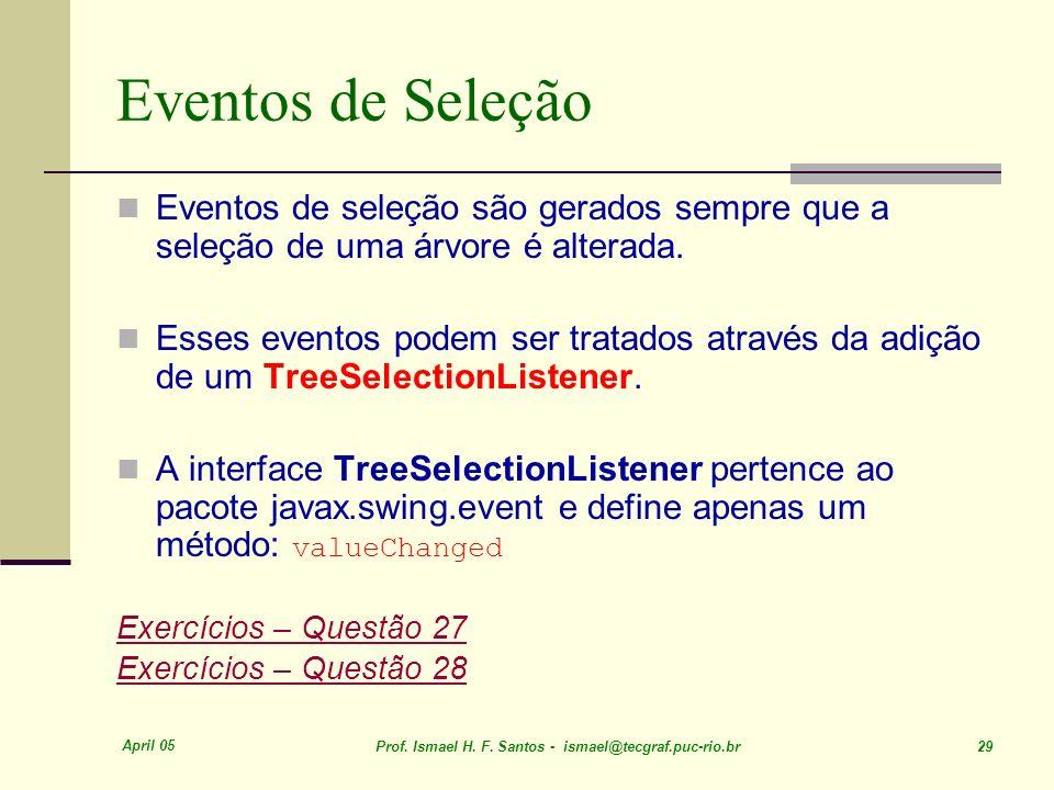 April 05 Prof. Ismael H. F. Santos - ismael@tecgraf.puc-rio.br 29 Eventos de Seleção Eventos de seleção são gerados sempre que a seleção de uma árvore