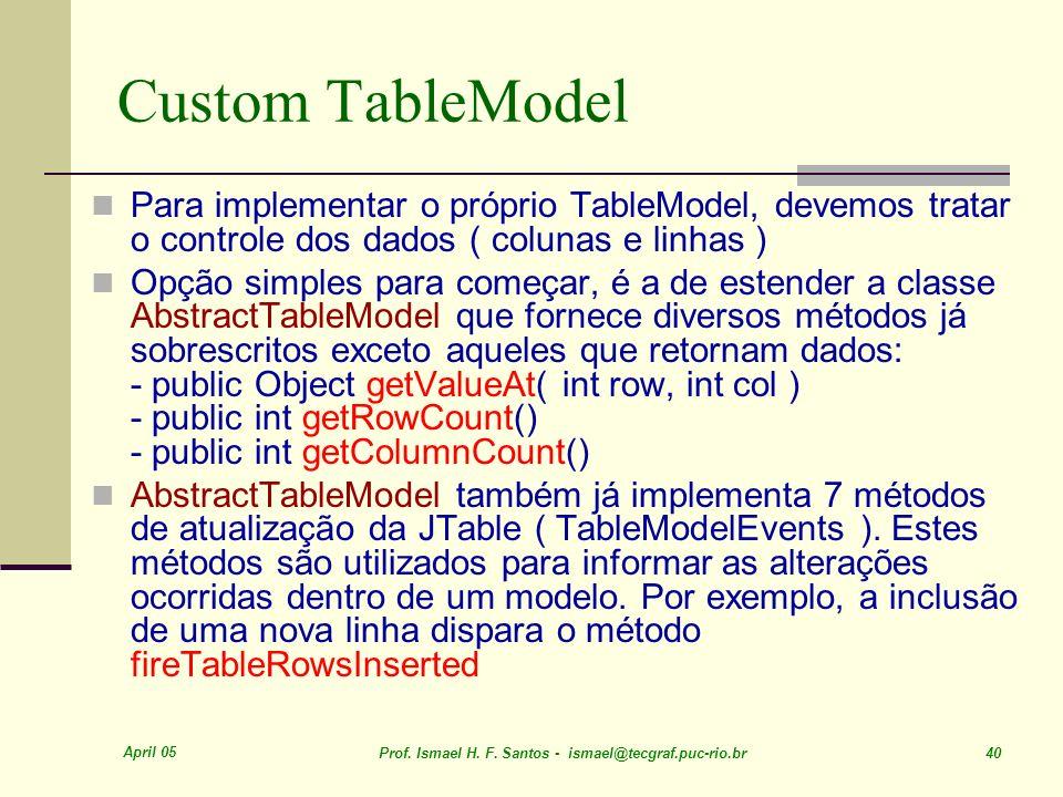 April 05 Prof. Ismael H. F. Santos - ismael@tecgraf.puc-rio.br 40 Custom TableModel Para implementar o próprio TableModel, devemos tratar o controle d