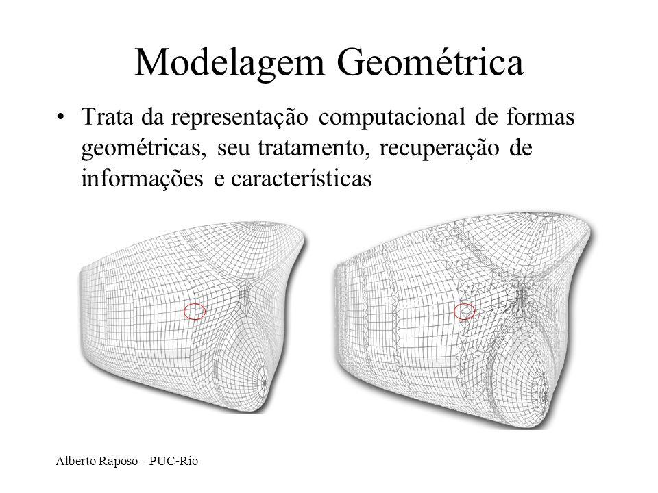 Alberto Raposo – PUC-Rio Modelagem Geométrica Trata da representação computacional de formas geométricas, seu tratamento, recuperação de informações e