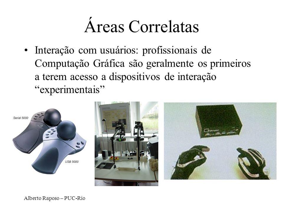Alberto Raposo – PUC-Rio Áreas Correlatas Interação com usuários: profissionais de Computação Gráfica são geralmente os primeiros a terem acesso a dis