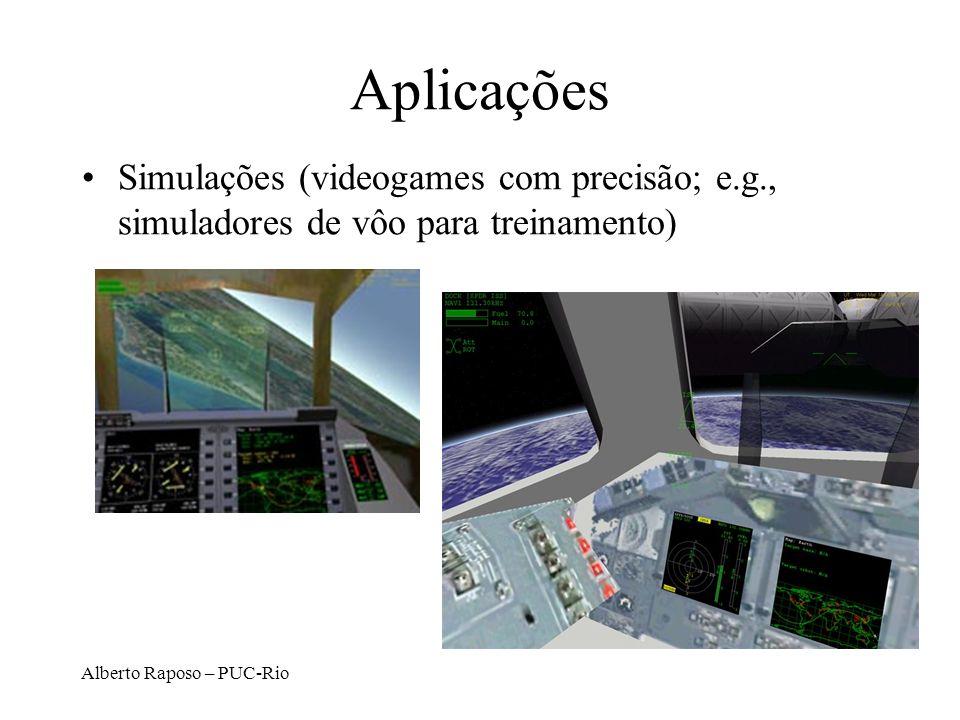 Alberto Raposo – PUC-Rio Aplicações Simulações (videogames com precisão; e.g., simuladores de vôo para treinamento)
