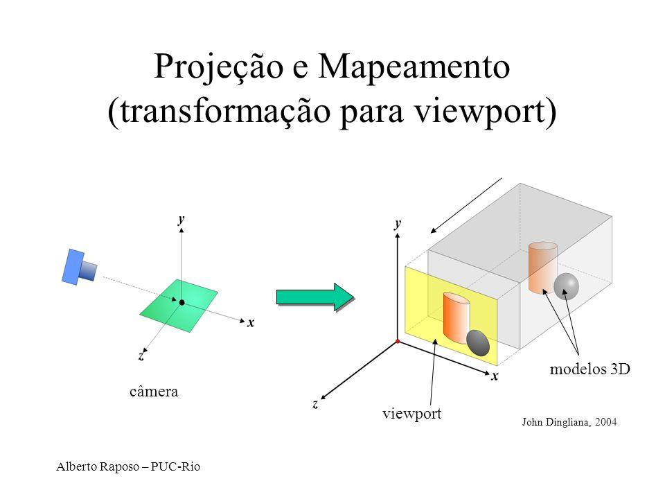 Alberto Raposo – PUC-Rio Projeção e Mapeamento (transformação para viewport) viewport modelos 3D câmera John Dingliana, 2004