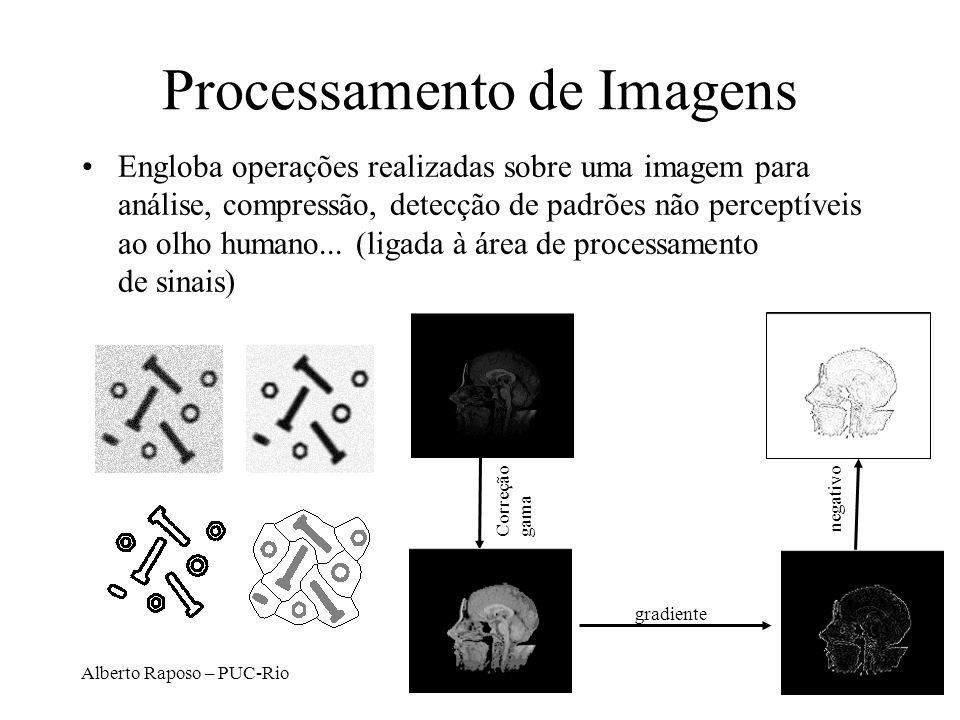 Alberto Raposo – PUC-Rio Processamento de Imagens Engloba operações realizadas sobre uma imagem para análise, compressão, detecção de padrões não perc