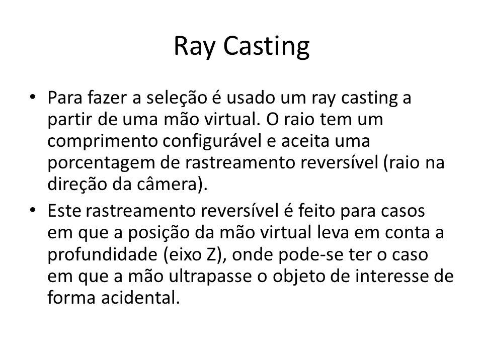 Ray Casting Para fazer a seleção é usado um ray casting a partir de uma mão virtual.