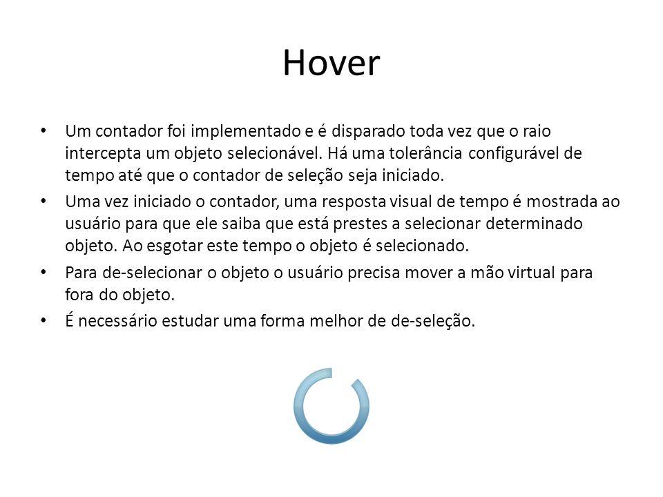 Hover Um contador foi implementado e é disparado toda vez que o raio intercepta um objeto selecionável.