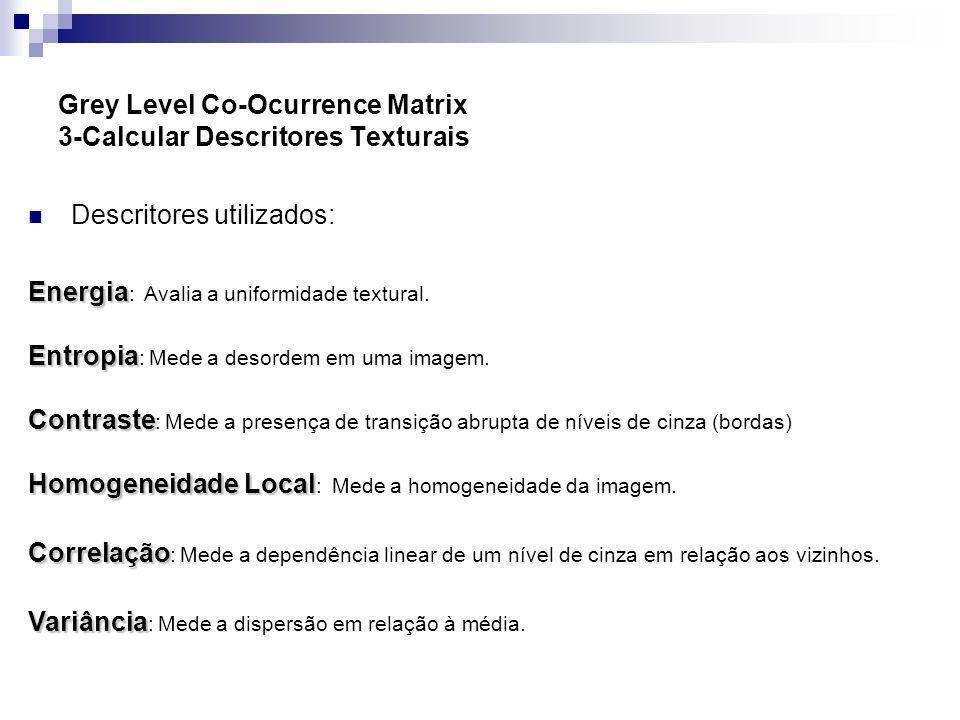 Grey Level Co-Ocurrence Matrix 3-Calcular Descritores Texturais Descritores utilizados: Energia Energia : Avalia a uniformidade textural. Entropia Ent
