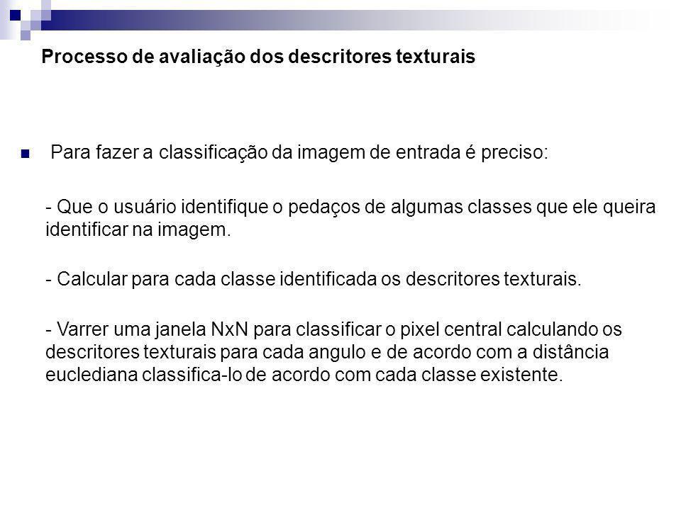 Processo de avaliação dos descritores texturais Para fazer a classificação da imagem de entrada é preciso: - Que o usuário identifique o pedaços de al