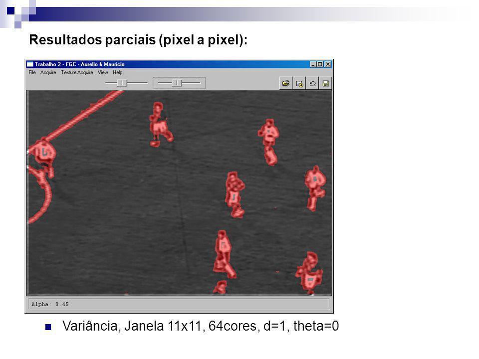 Resultados parciais (pixel a pixel): Variância, Janela 11x11, 64cores, d=1, theta=0