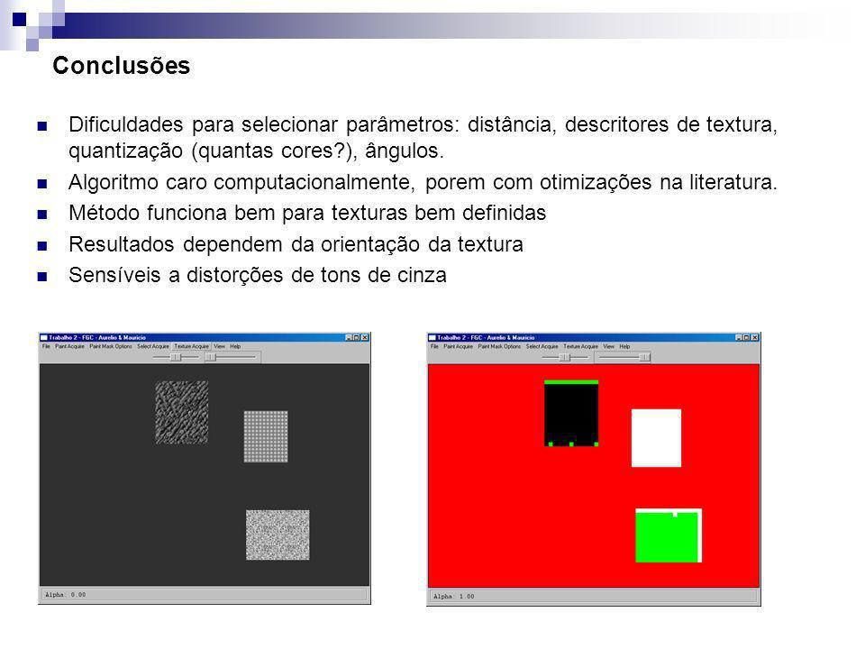 Conclusões Dificuldades para selecionar parâmetros: distância, descritores de textura, quantização (quantas cores?), ângulos. Algoritmo caro computaci