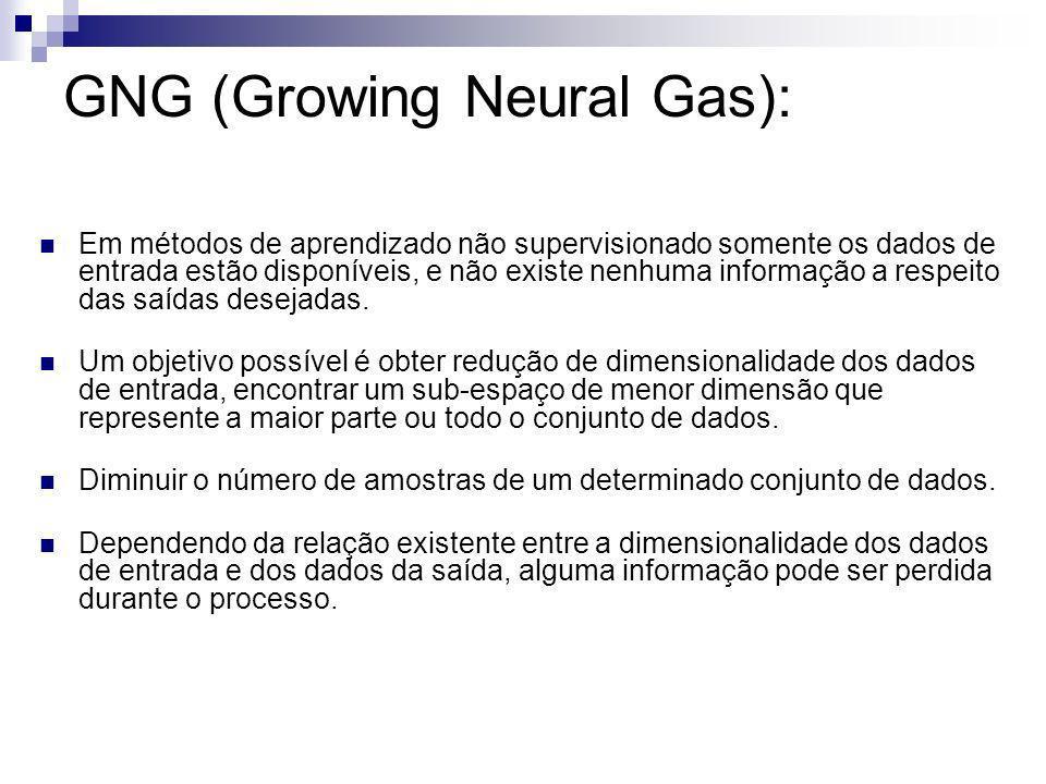 GNG (Growing Neural Gas): Em métodos de aprendizado não supervisionado somente os dados de entrada estão disponíveis, e não existe nenhuma informação