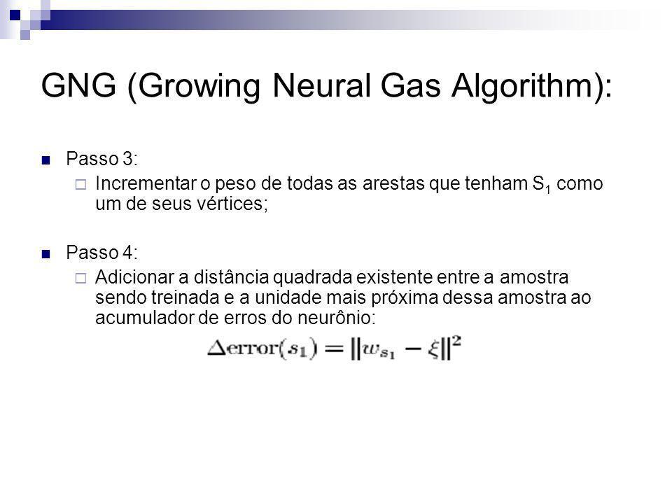 GNG (Growing Neural Gas Algorithm): Passo 3: Incrementar o peso de todas as arestas que tenham S 1 como um de seus vértices; Passo 4: Adicionar a dist