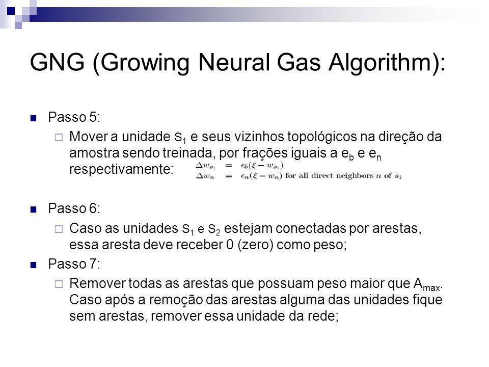 GNG (Growing Neural Gas Algorithm): Passo 5: Mover a unidade S 1 e seus vizinhos topológicos na direção da amostra sendo treinada, por frações iguais