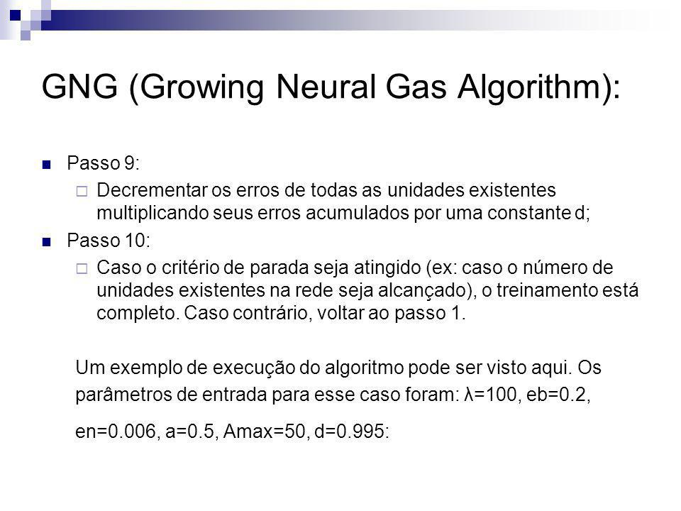 GNG (Growing Neural Gas Algorithm): Passo 9: Decrementar os erros de todas as unidades existentes multiplicando seus erros acumulados por uma constant