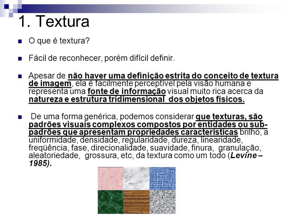 1. Textura O que é textura? Fácil de reconhecer, porém difícil definir. não haver uma definição estrita do conceito de textura de imagem fonte de info