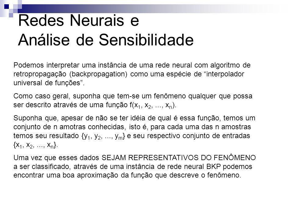 Redes Neurais e Análise de Sensibilidade Podemos interpretar uma instância de uma rede neural com algoritmo de retropropagação (backpropagation) como