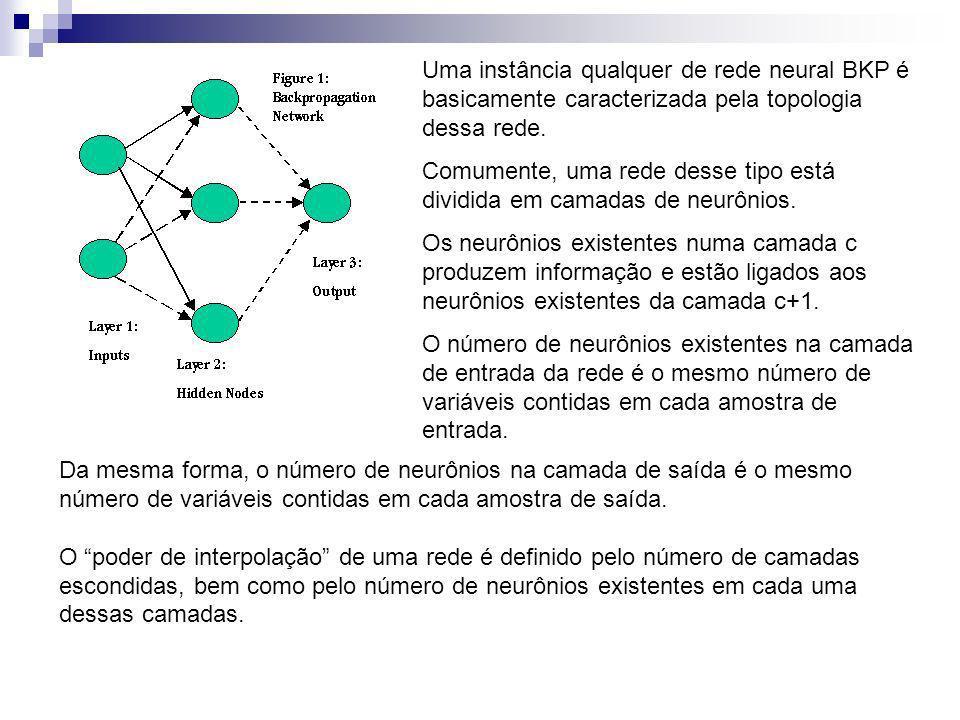 Uma instância qualquer de rede neural BKP é basicamente caracterizada pela topologia dessa rede. Comumente, uma rede desse tipo está dividida em camad