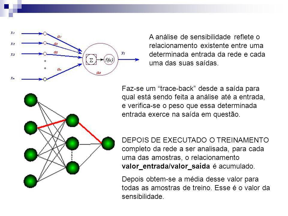 A análise de sensibilidade reflete o relacionamento existente entre uma determinada entrada da rede e cada uma das suas saídas. Faz-se um trace-back d