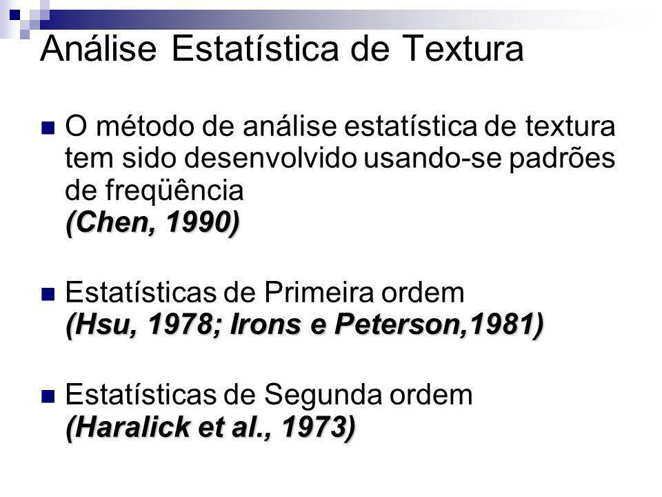 Análise Estatística de Textura (Chen, 1990) O método de análise estatística de textura tem sido desenvolvido usando-se padrões de freqüência (Chen, 19