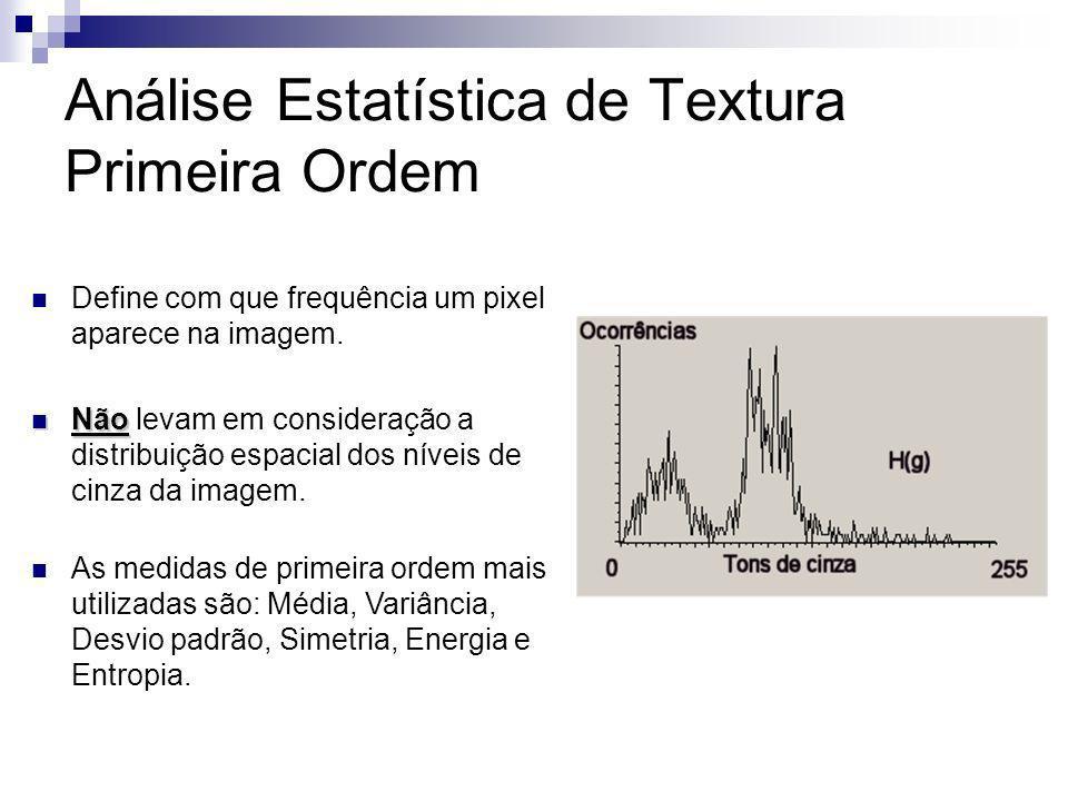 Análise Estatística de Textura Primeira Ordem Define com que frequência um pixel aparece na imagem. Não Não levam em consideração a distribuição espac