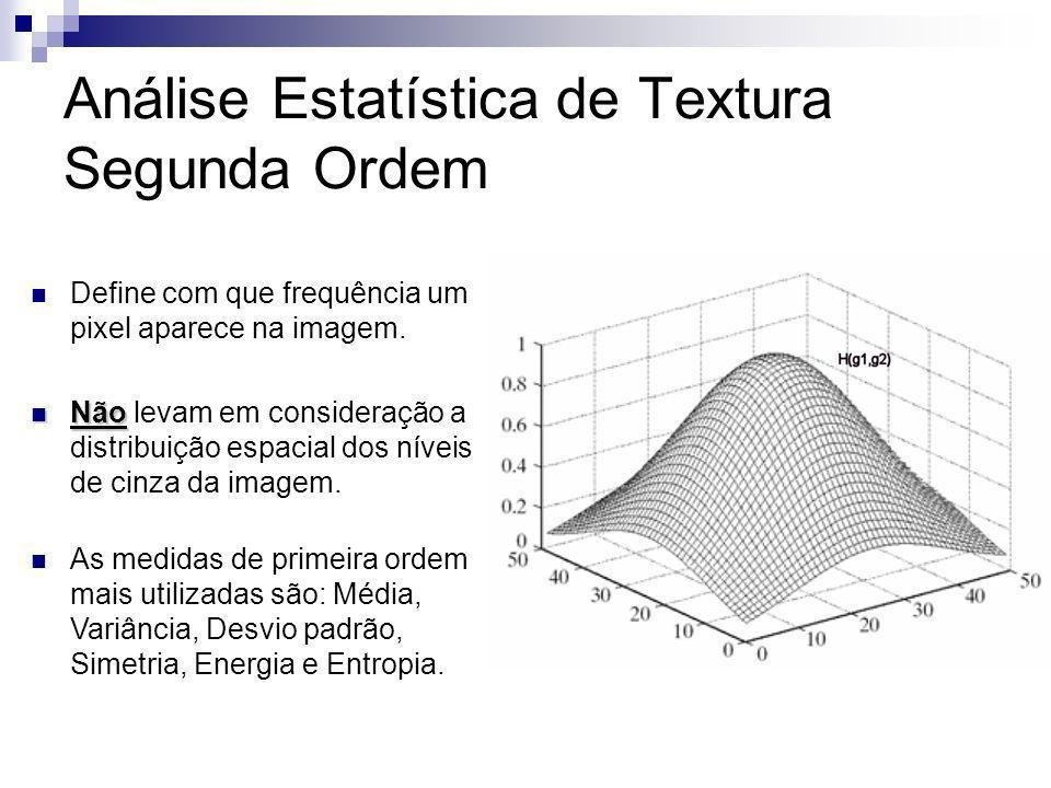 Análise Estatística de Textura Segunda Ordem SGLDM – Spatial Grey Level Dependence Level SGLDM – Spatial Grey Level Dependence Level Calcula a probabilidade de ocorrer uma transição entre dois pixels da imagem em tons de cinza separados por uma dada orientação espacial.