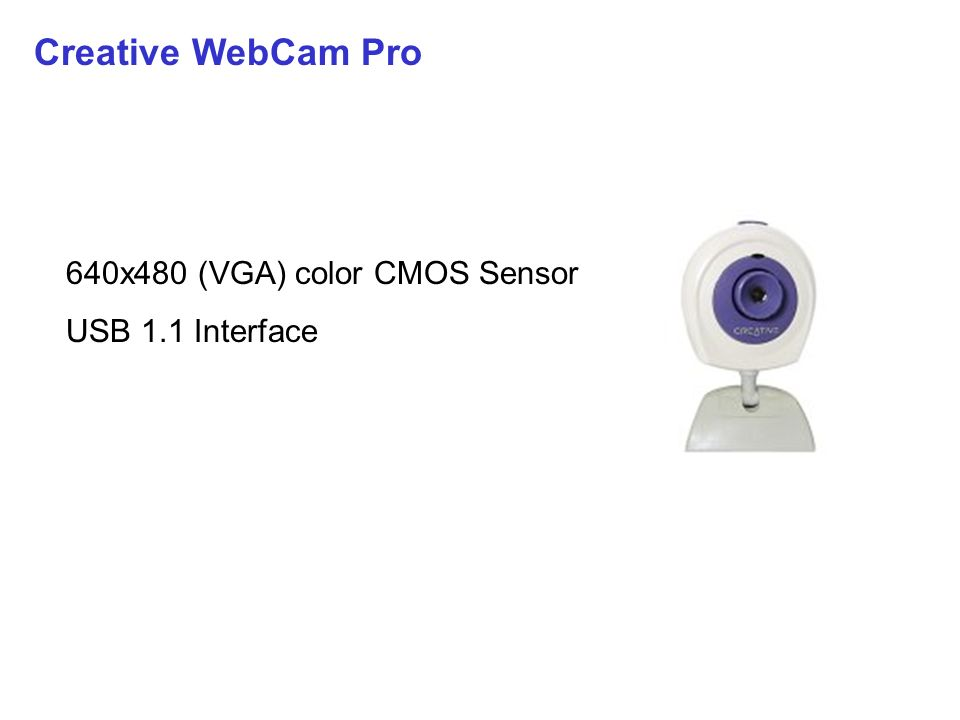 Creative WebCam Pro 640x480 (VGA) color CMOS Sensor USB 1.1 Interface