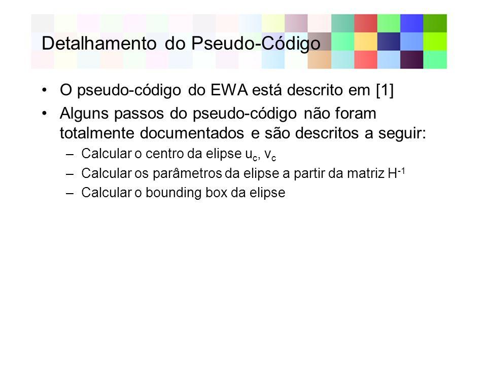 Detalhamento do Pseudo-Código O pseudo-código do EWA está descrito em [1] Alguns passos do pseudo-código não foram totalmente documentados e são descr