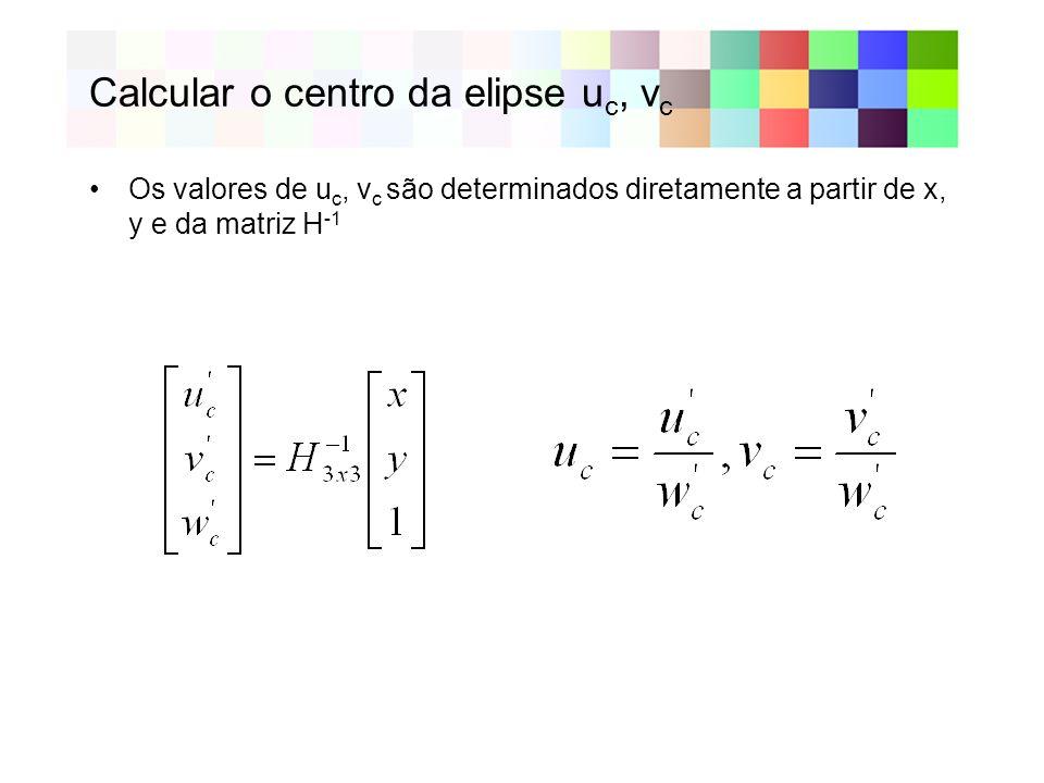 Calcular o centro da elipse u c, v c Os valores de u c, v c são determinados diretamente a partir de x, y e da matriz H -1