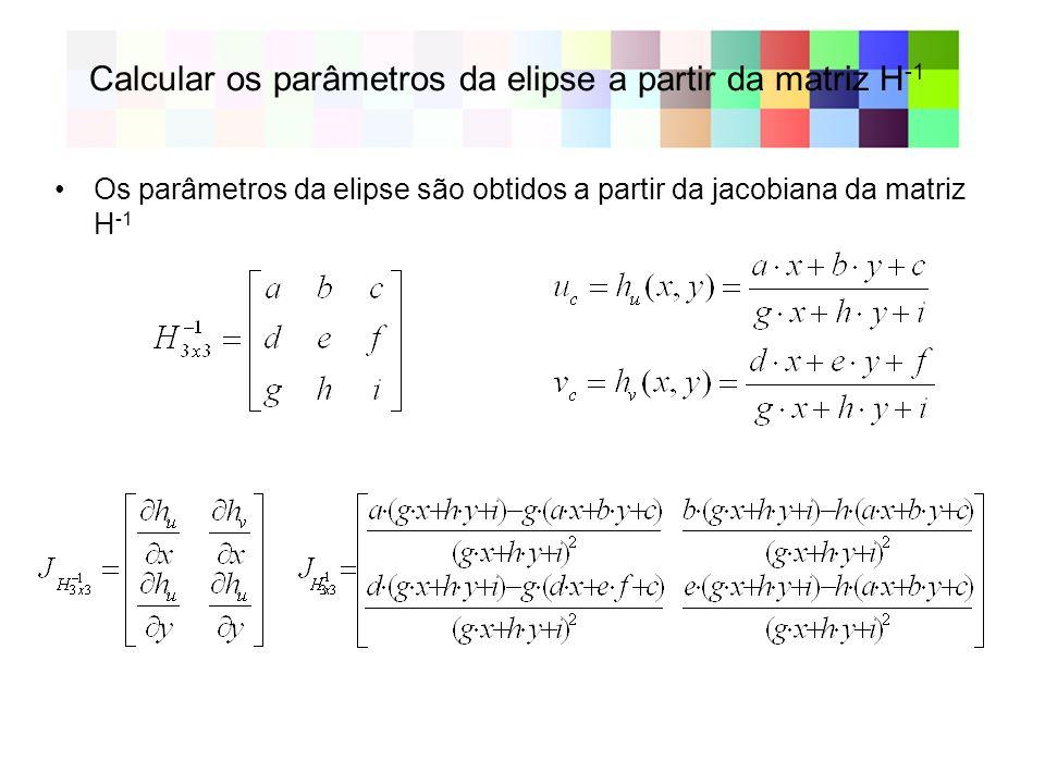 Calcular os parâmetros da elipse a partir da matriz H -1 Os parâmetros da elipse são obtidos a partir da jacobiana da matriz H -1