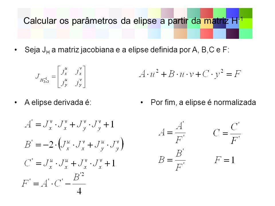 Calcular os parâmetros da elipse a partir da matriz H -1 Seja J H a matriz jacobiana e a elipse definida por A, B,C e F: A elipse derivada é:Por fim,