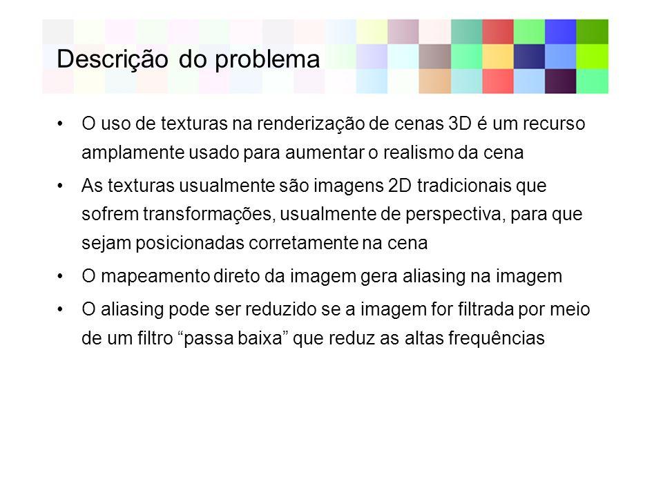 Descrição do problema O uso de texturas na renderização de cenas 3D é um recurso amplamente usado para aumentar o realismo da cena As texturas usualme