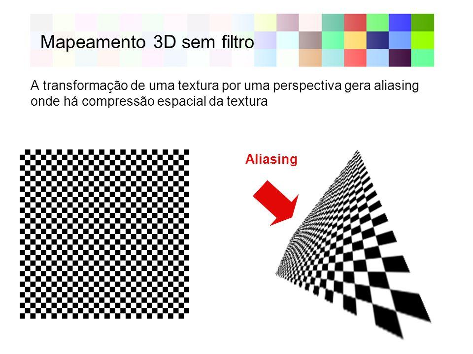 Mapeamento 3D sem filtro Aliasing A transformação de uma textura por uma perspectiva gera aliasing onde há compressão espacial da textura