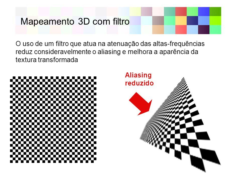 Mapeamento 3D com filtro Aliasing reduzido O uso de um filtro que atua na atenuação das altas-frequências reduz consideravelmente o aliasing e melhora