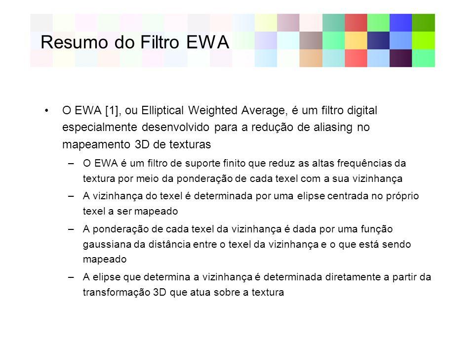 Resumo do Filtro EWA O EWA [1], ou Elliptical Weighted Average, é um filtro digital especialmente desenvolvido para a redução de aliasing no mapeament