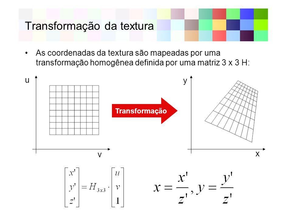 Transformação da textura As coordenadas da textura são mapeadas por uma transformação homogênea definida por uma matriz 3 x 3 H: u v x y Transformação