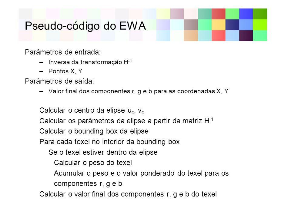Detalhamento do Pseudo-Código O pseudo-código do EWA está descrito em [1] Alguns passos do pseudo-código não foram totalmente documentados e são descritos a seguir: –Calcular o centro da elipse u c, v c –Calcular os parâmetros da elipse a partir da matriz H -1 –Calcular o bounding box da elipse