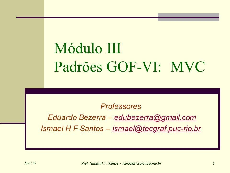 April 05 Prof. Ismael H. F. Santos - ismael@tecgraf.puc-rio.br 1 Módulo III Padrões GOF-VI: MVC Professores Eduardo Bezerra – edubezerra@gmail.comedub