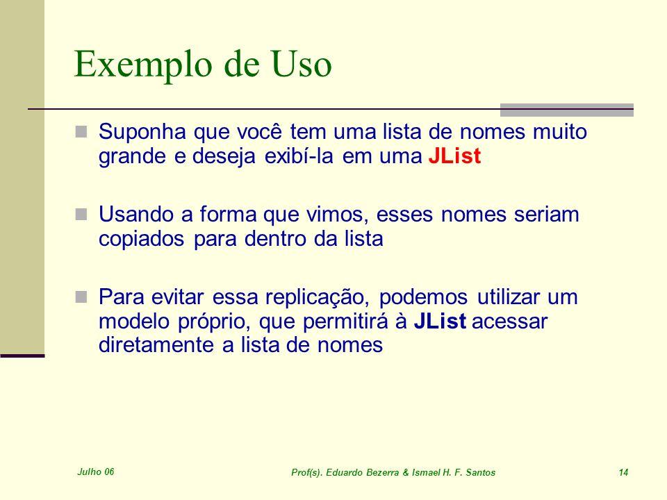 Julho 06 Prof(s). Eduardo Bezerra & Ismael H. F. Santos 14 Exemplo de Uso Suponha que você tem uma lista de nomes muito grande e deseja exibí-la em um