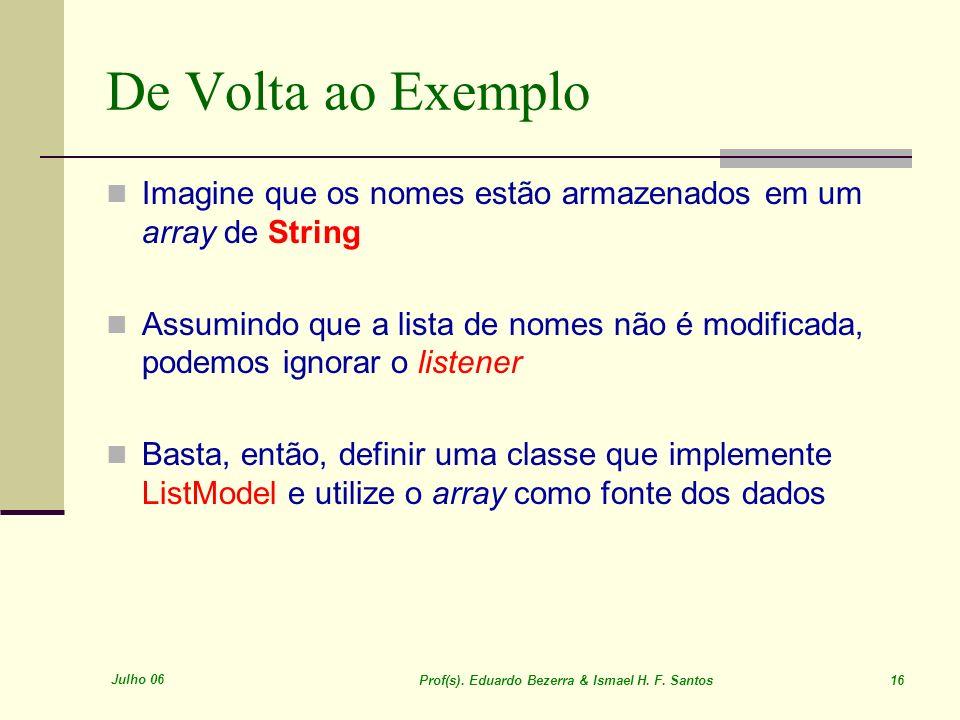 Julho 06 Prof(s). Eduardo Bezerra & Ismael H. F. Santos 16 De Volta ao Exemplo Imagine que os nomes estão armazenados em um array de String Assumindo