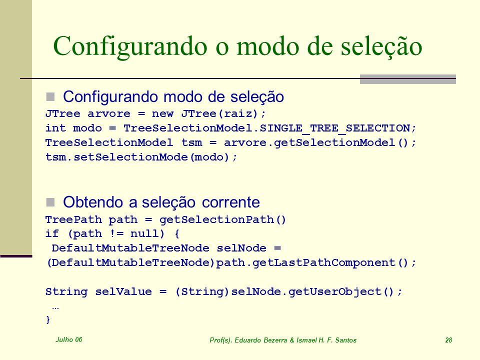 Julho 06 Prof(s). Eduardo Bezerra & Ismael H. F. Santos 28 Configurando o modo de seleção Configurando modo de seleção JTree arvore = new JTree(raiz);