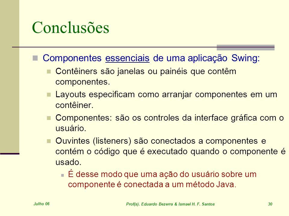 Julho 06 Prof(s). Eduardo Bezerra & Ismael H. F. Santos 30 Conclusões Componentes essenciais de uma aplicação Swing: Contêiners são janelas ou painéis