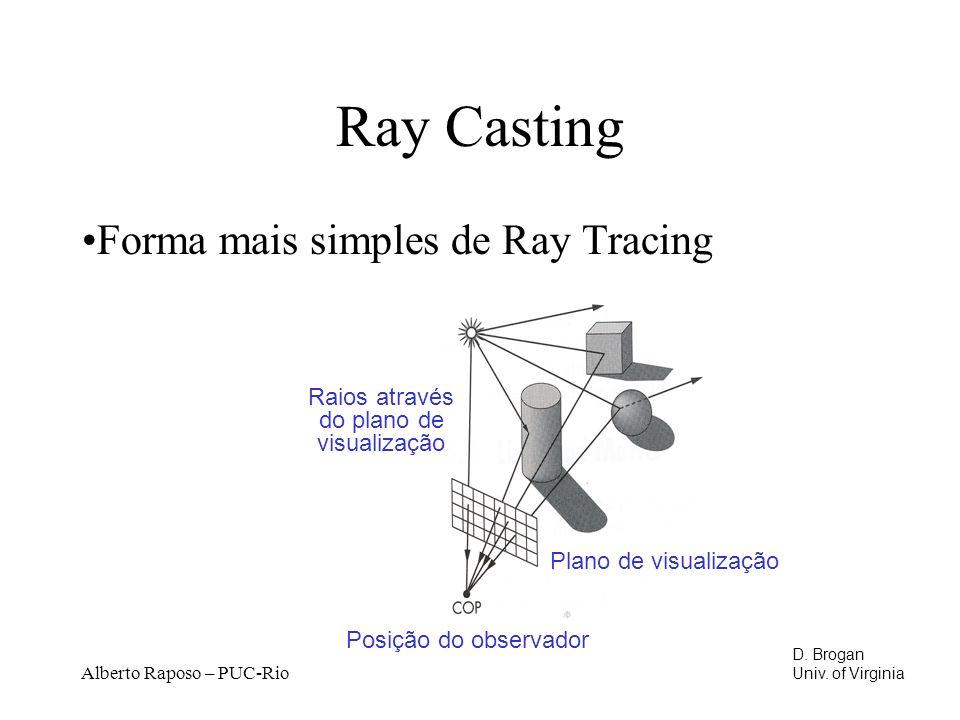 Alberto Raposo – PUC-Rio Ray Casting Forma mais simples de Ray Tracing Plano de visualização Posição do observador Raios através do plano de visualiza