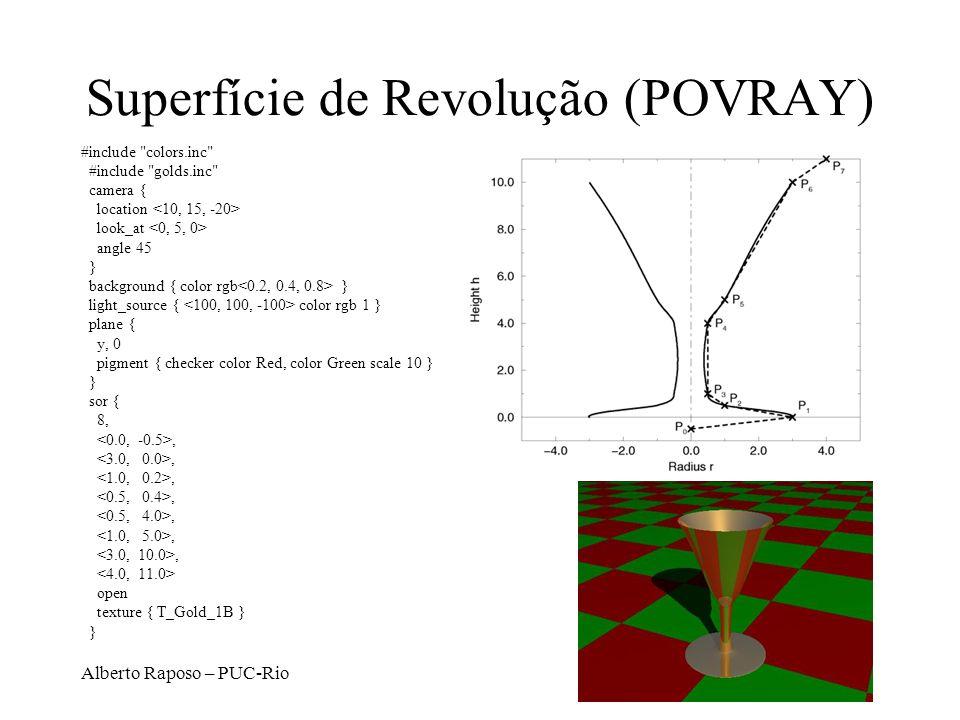Alberto Raposo – PUC-Rio Ray Casting Amostras no plano de visualização Posição do olho Raios através do plano de visualização D.