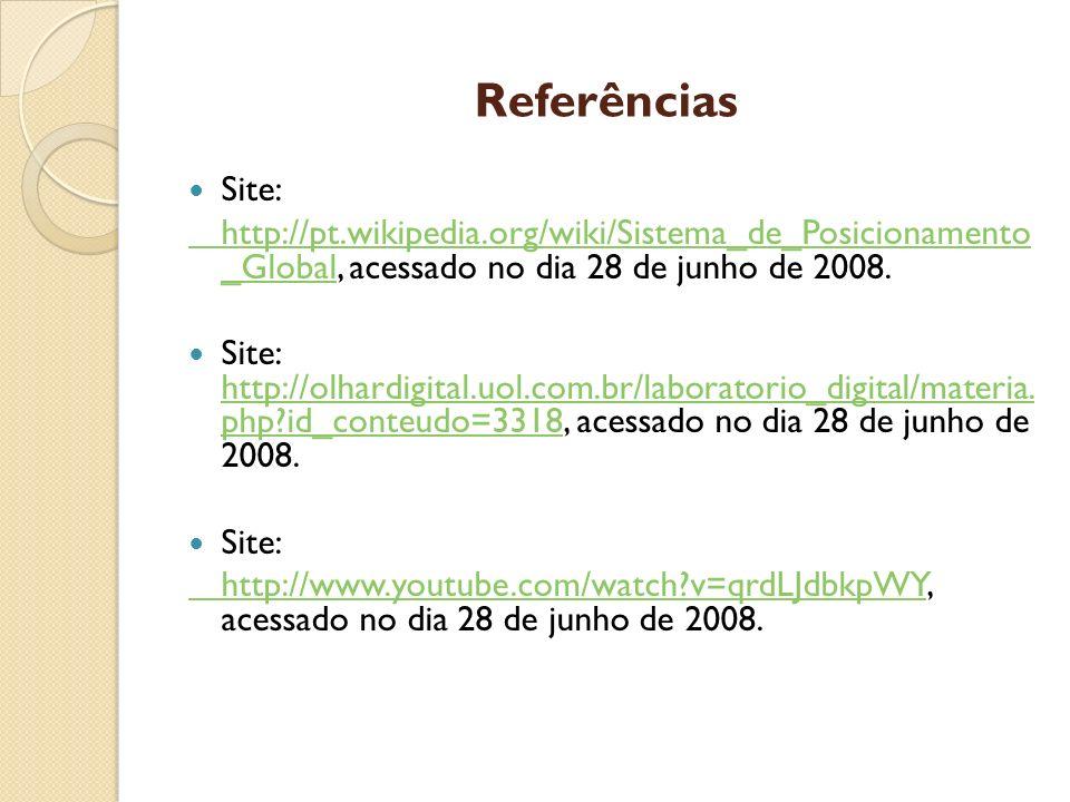 Referências Site: http://pt.wikipedia.org/wiki/Sistema_de_Posicionamento _Globalhttp://pt.wikipedia.org/wiki/Sistema_de_Posicionamento _Global, acessa