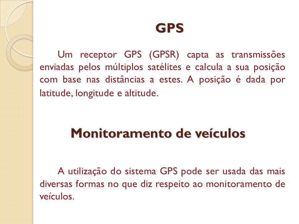 GPS Um receptor GPS (GPSR) capta as transmissões enviadas pelos múltiplos satélites e calcula a sua posição com base nas distâncias a estes. A posição