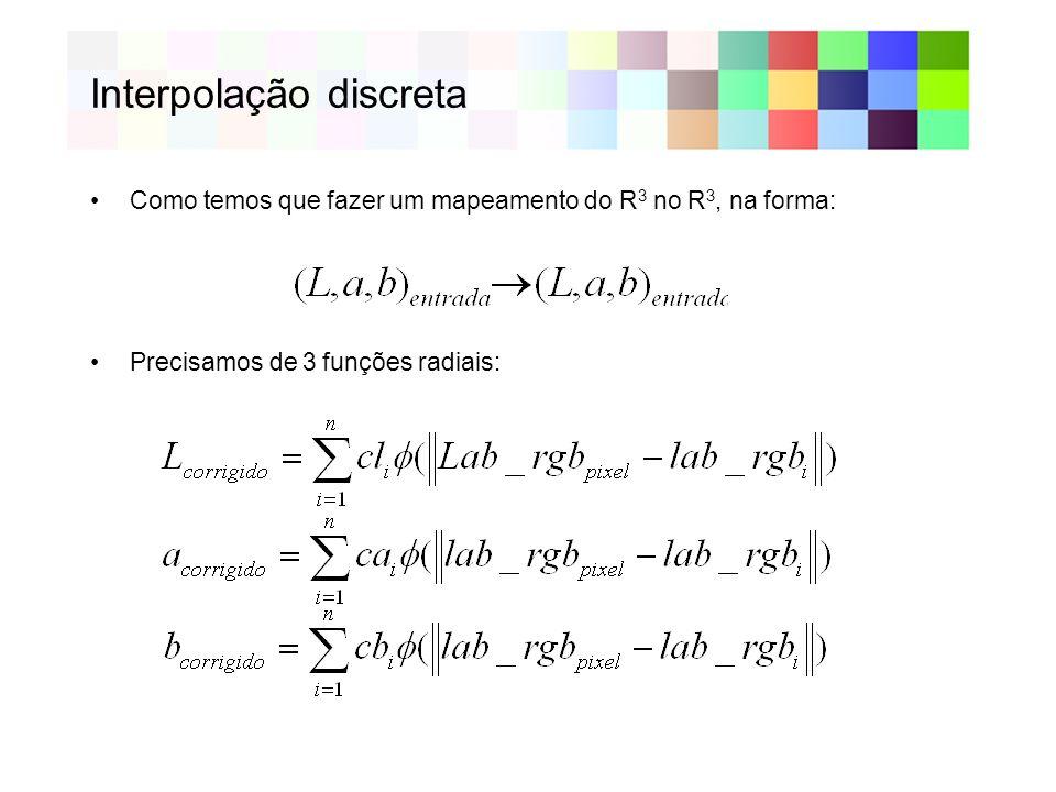 Interpolação discreta Como temos que fazer um mapeamento do R 3 no R 3, na forma: Precisamos de 3 funções radiais: